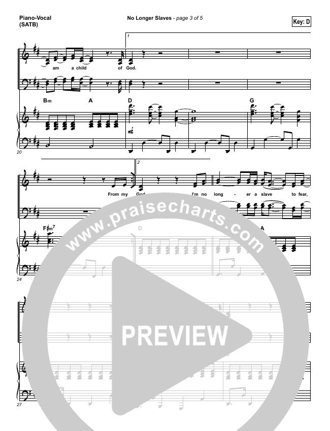 No Longer Slaves Piano/Vocal (SATB) (Gateway Worship Voices / Bridgette Morris)