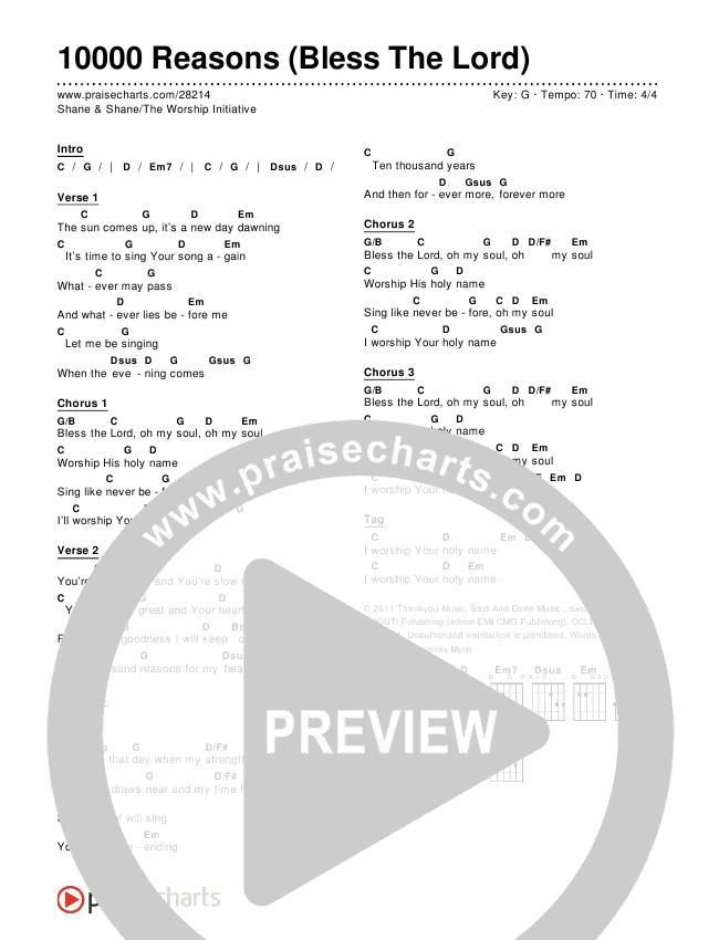 10000 Reasons (Bless The Lord) Chords & Lyrics (Shane & Shane / The Worship Initiative)