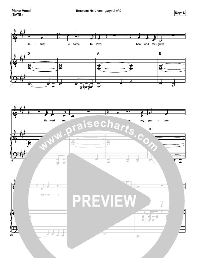 Because He Lives Piano/Vocal (SATB) (Shane & Shane / The Worship Initiative)