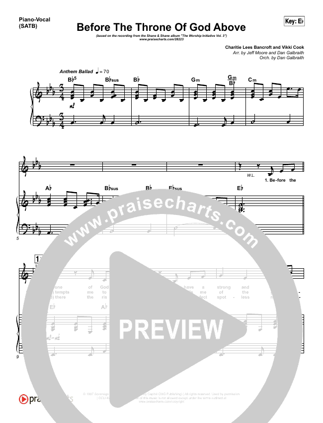 Before The Throne Of God Above Piano/Vocal (SATB) (Shane & Shane / The Worship Initiative)