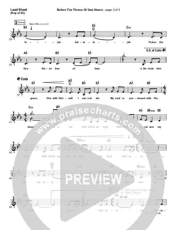 Before The Throne Of God Above Lead Sheet (Melody) (Shane & Shane / The Worship Initiative)