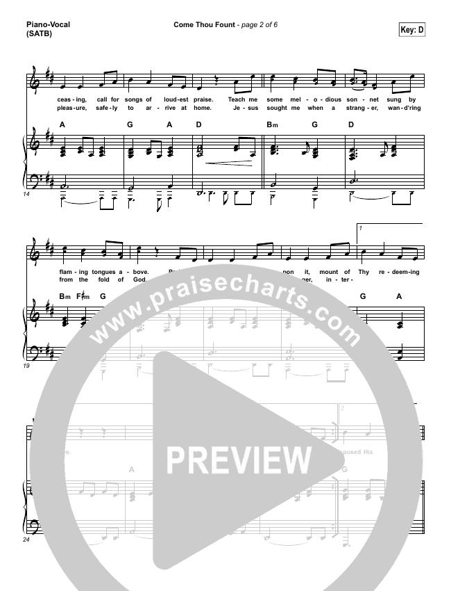 Come Thou Fount Piano/Vocal (SATB) (Shane & Shane / The Worship Initiative)