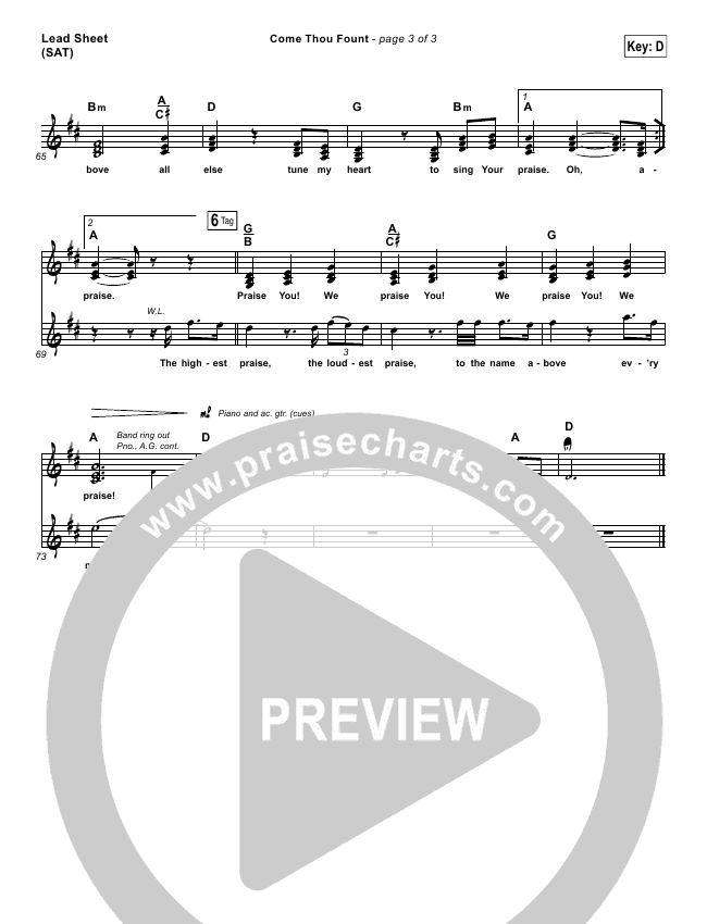 Come Thou Fount Piano/Vocal Pack (Shane & Shane / The Worship Initiative)