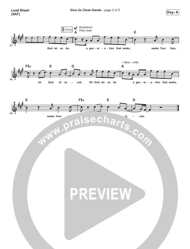 Give Us Clean Hands Lead Sheet (SAT) (Shane & Shane / The Worship Initiative)