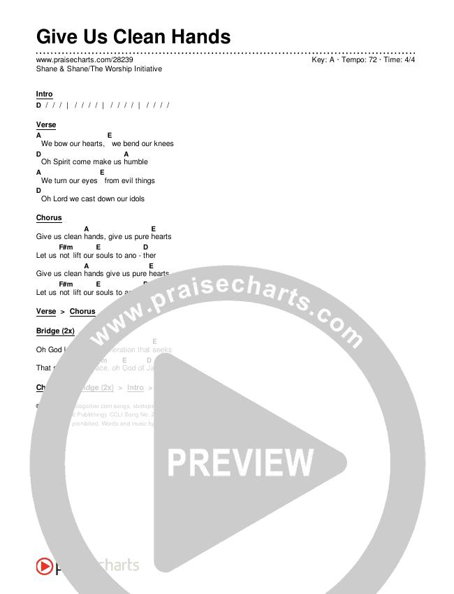 Give Us Clean Hands Chords & Lyrics (Shane & Shane / The Worship Initiative)