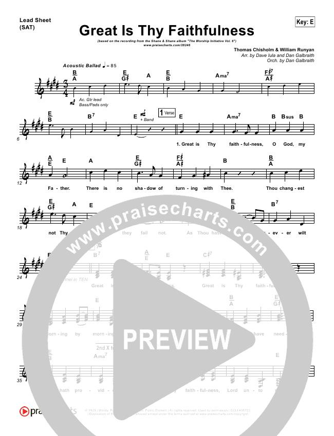 Great Is Thy Faithfulness Lead Sheet & Piano/Vocal - Shane & Shane ...