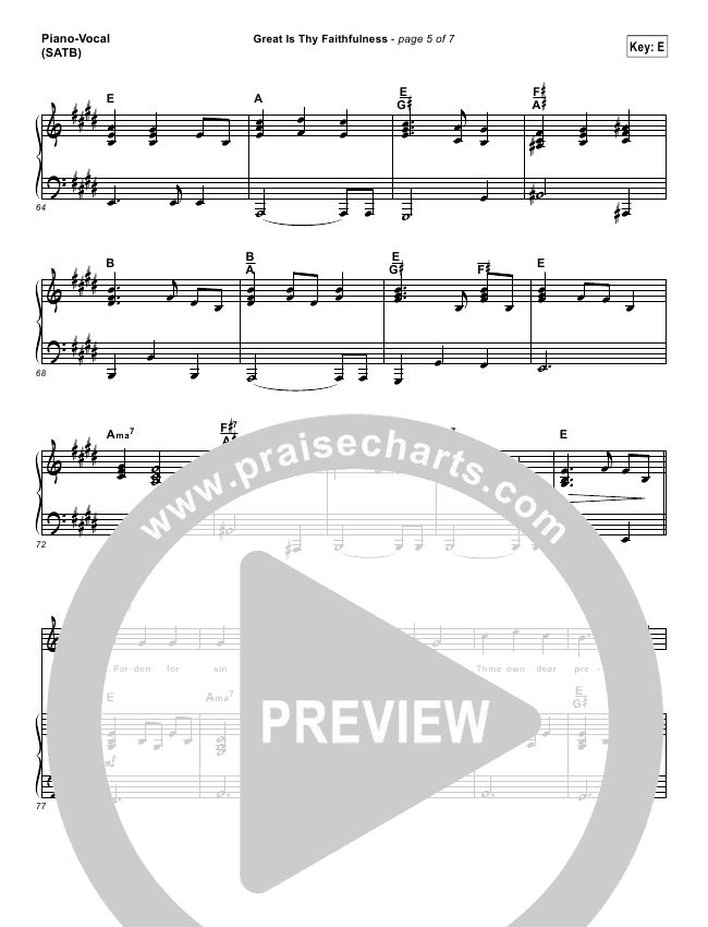 Great Is Thy Faithfulnesslead Sheet Pianovocal Shane Shane