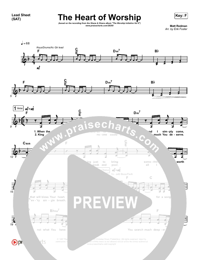 The Heart Of Worship Lead Sheet (SAT) (Shane & Shane / The Worship Initiative)
