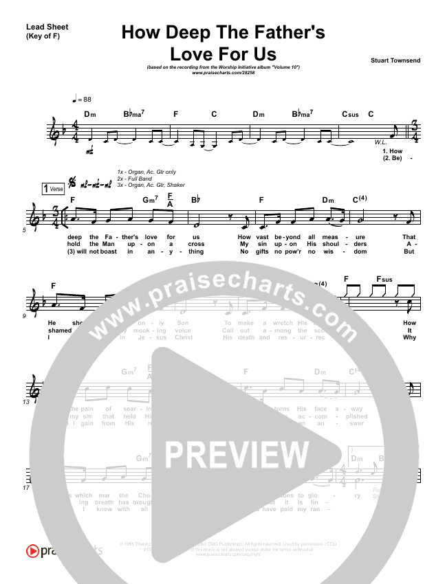 How Deep The Father's Love For Us Lead Sheet (Melody) (Shane & Shane / The Worship Initiative)
