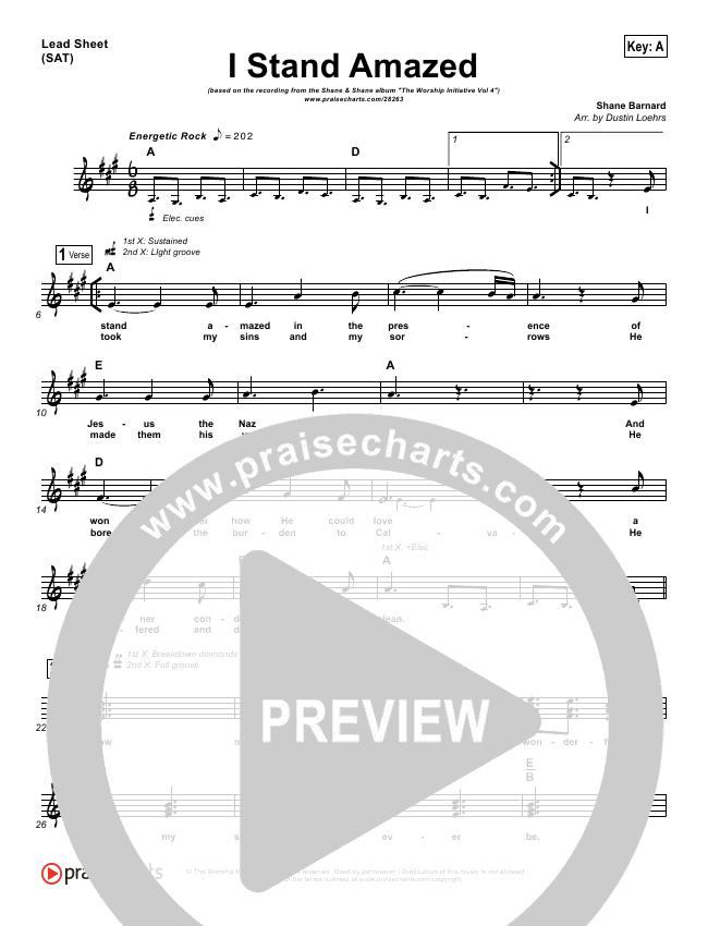 I Stand Amazed Lead Sheet (Shane & Shane / The Worship Initiative)