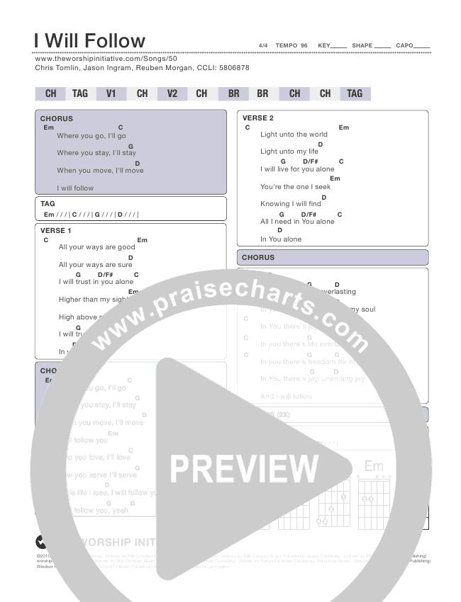 I Will Follow Chord Chart (Shane & Shane / The Worship Initiative)