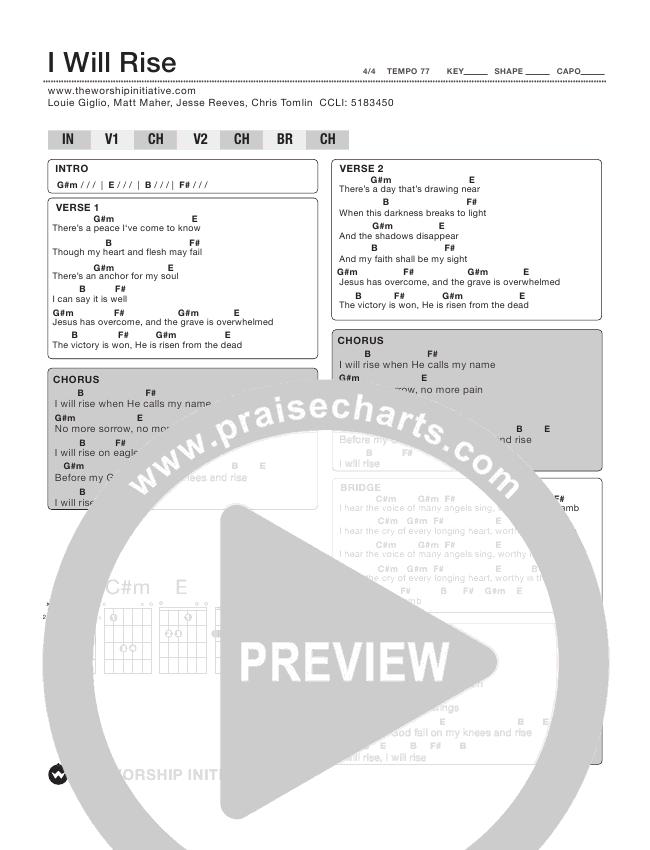 I Will Rise Chord Chart (Shane & Shane / The Worship Initiative)