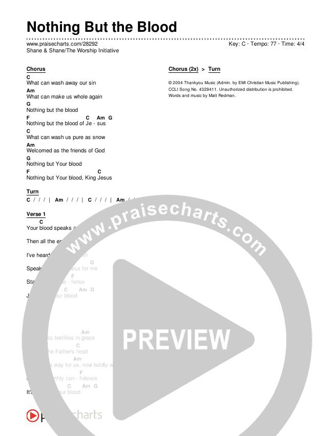 Nothing But The Blood Chords & Lyrics (Shane & Shane / The Worship Initiative)