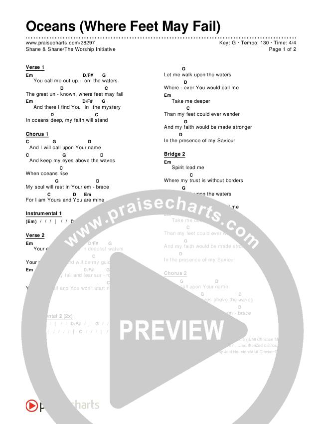 Oceans (Where Feet May Fail) Chords & Lyrics (Shane & Shane / The Worship Initiative)