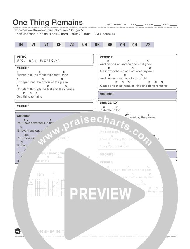 One Thing Remains Chord Chart (Shane & Shane / The Worship Initiative)