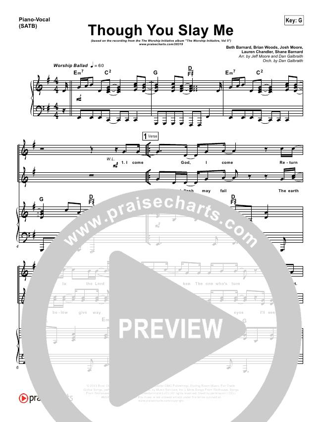 Though You Slay Me Lead Sheet & Piano/Vocal - Shane & Shane, The ...