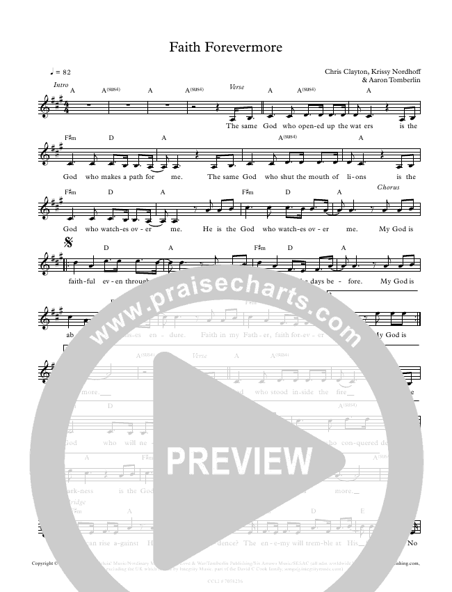 Faith Forevermore Lead Sheet Pianovocal All About Worship