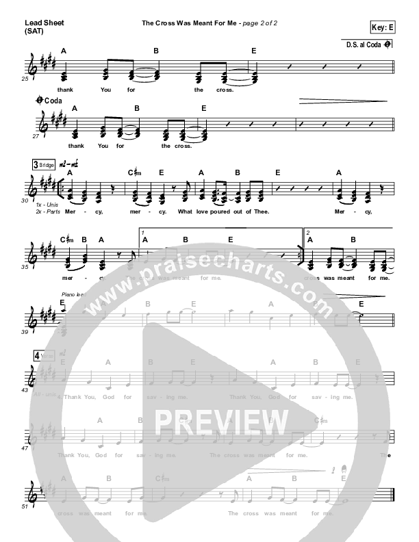 The Cross Was Meant For Me Lead Sheet (Travis Ryan)