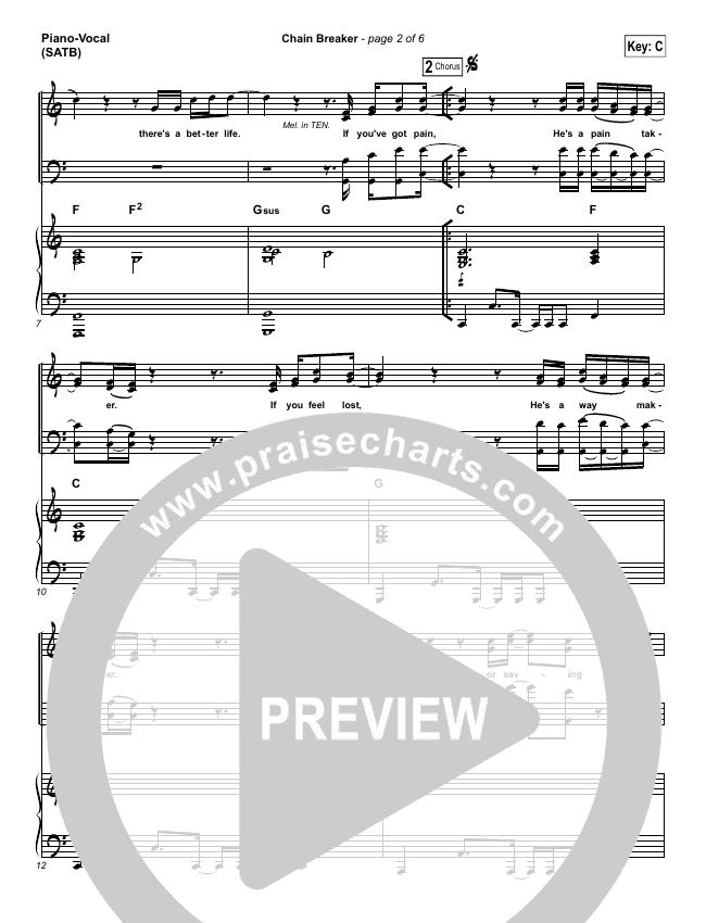 Chain Breaker Piano/Vocal (SATB) (Zach Williams)