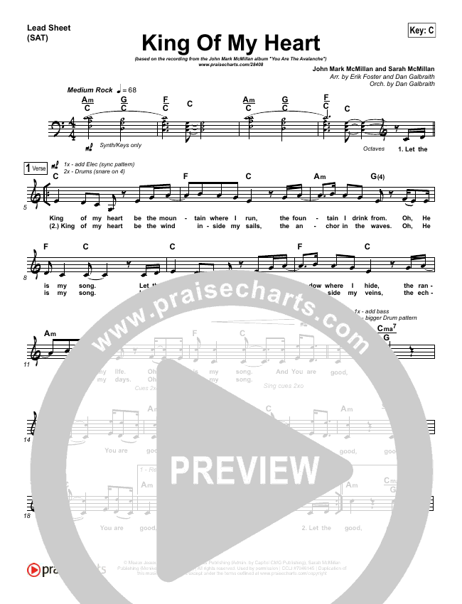 King Of My Heart Lead Sheet (SAT) (John Mark McMillan / Sarah McMillan)