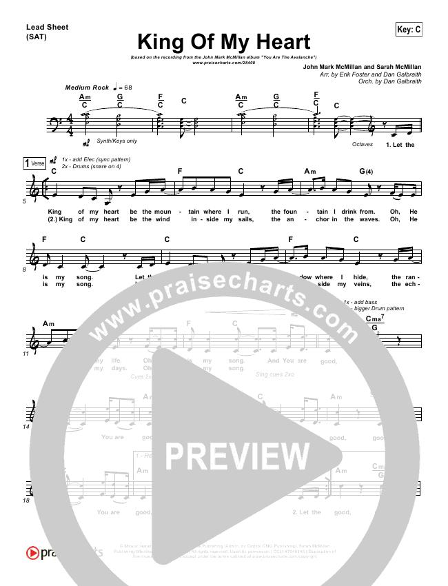 King Of My Heart Piano/Vocal Pack (John Mark McMillan / Sarah McMillan)