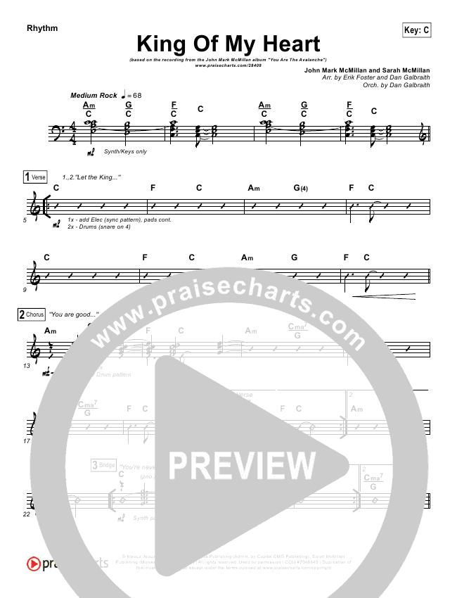 King Of My Heart Rhythm Chart (John Mark McMillan / Sarah McMillan)
