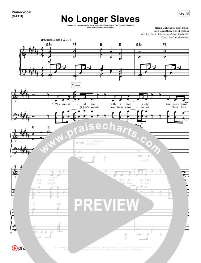 No Longer Slaves Lead & Piano/Vocal (I Am They)
