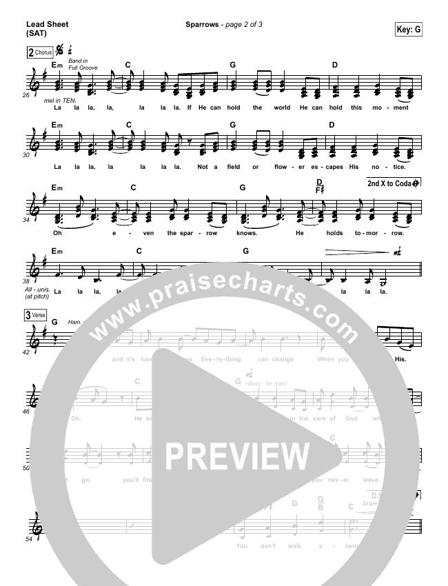 Sparrows Lead Sheet (SAT) (Jason Gray)