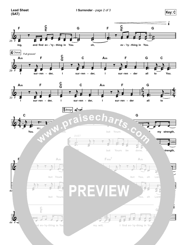 I Surrender Lead Sheet (SAT) (All Sons & Daughters)