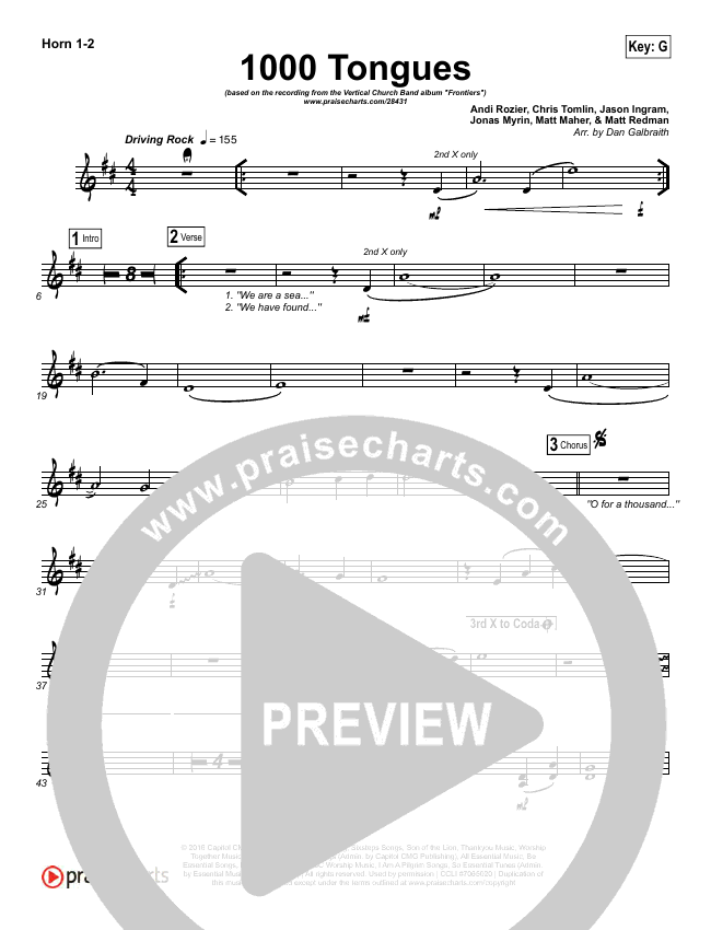 1000 Tongues Brass Pack (Vertical Worship)