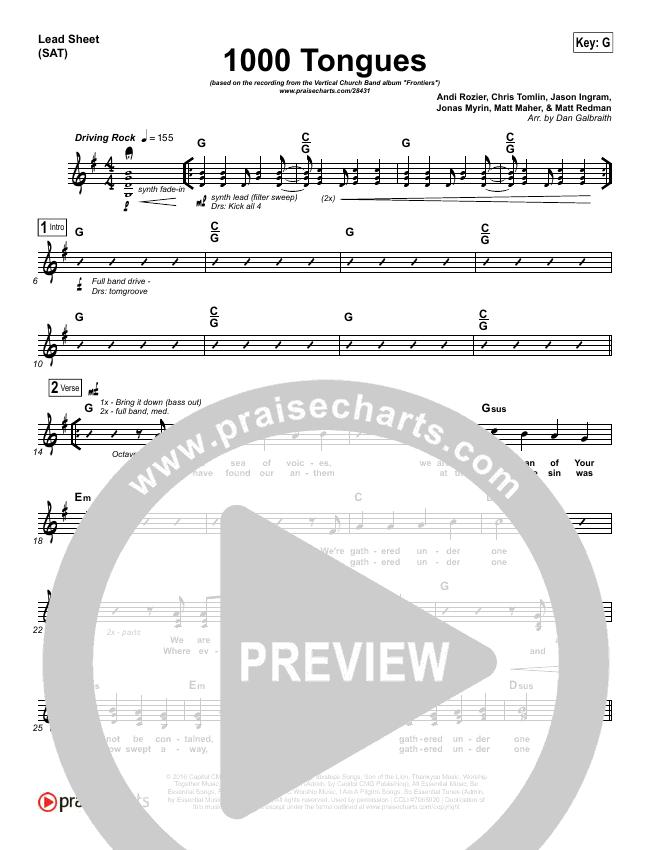 1000 Tongues Lead Sheet (SAT) (Vertical Worship)
