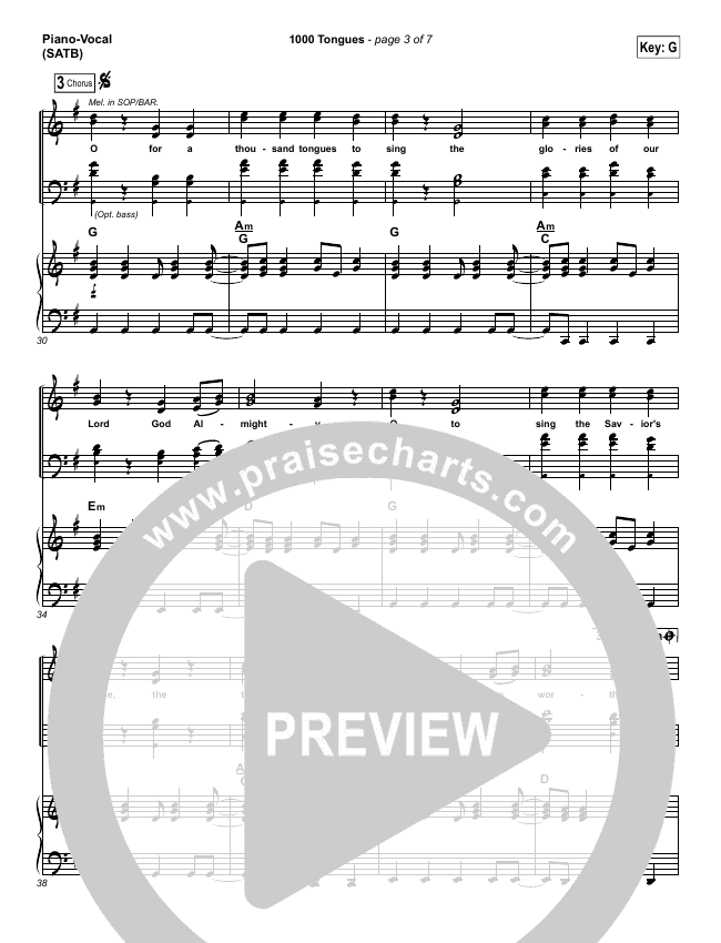 1000 Tongues Piano/Vocal (SATB) (Vertical Worship)