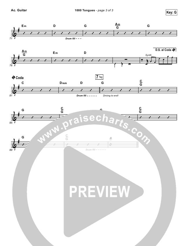 1000 Tongues Rhythm Chart (Vertical Worship)