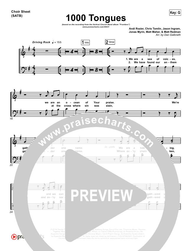 1000 Tongues Choir Sheet (SATB) (Vertical Worship)