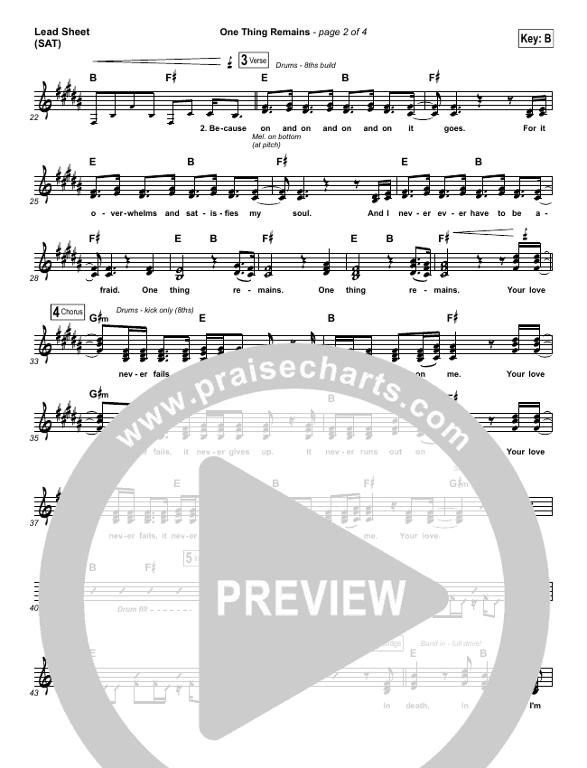 One Thing Remains Lead Sheet (SAT) (Jesus Culture)