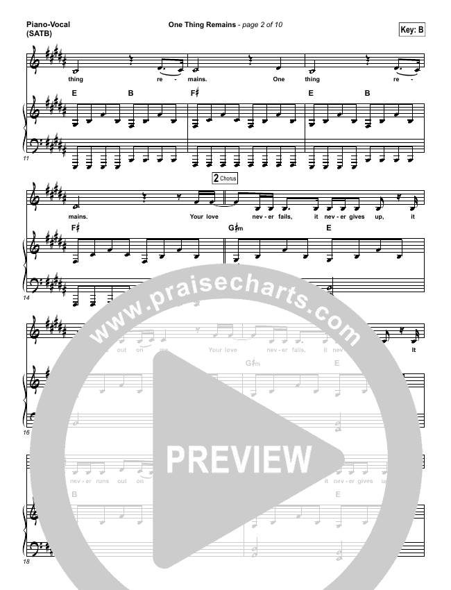One Thing Remains Piano/Vocal (SATB) (Jesus Culture)