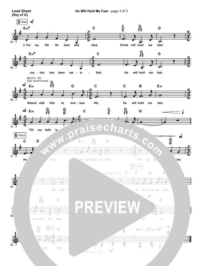 He Will Hold Me Fast Lead Sheet (Melody) (Keith & Kristyn Getty)
