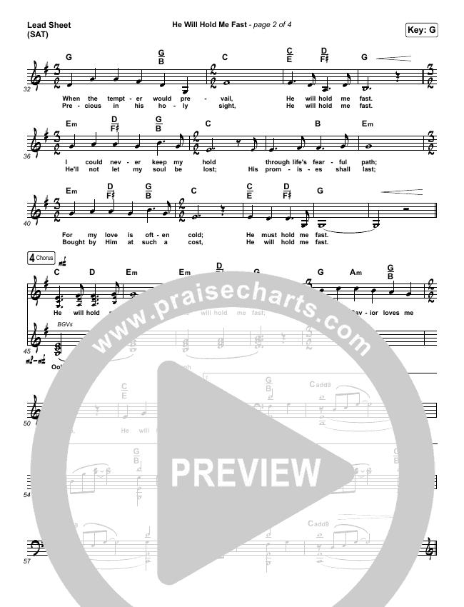 He Will Hold Me Fast Lead Sheet (SAT) (Keith & Kristyn Getty)