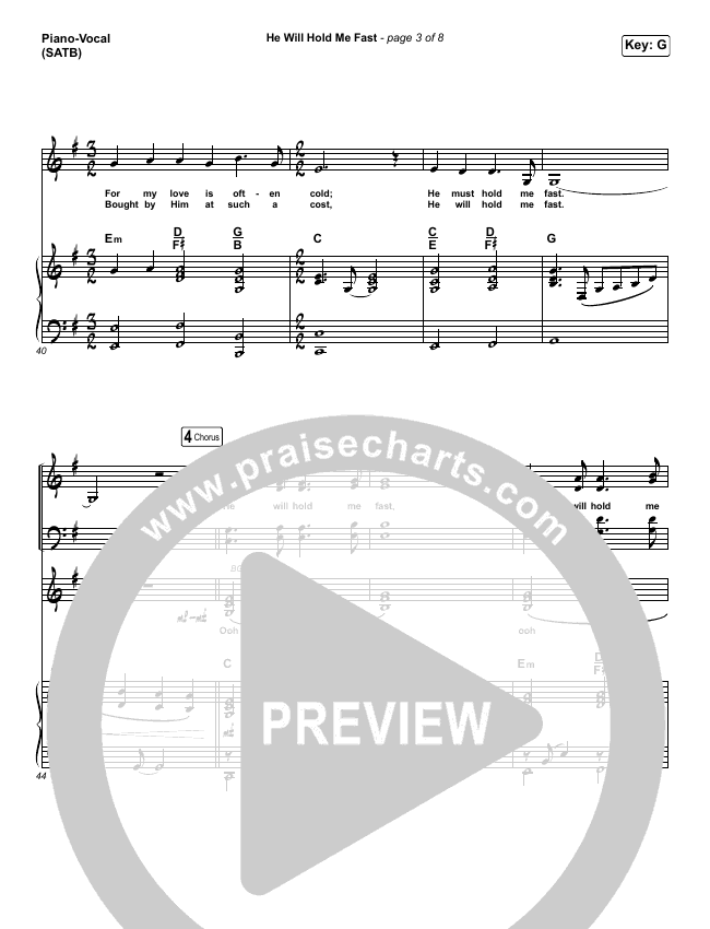He Will Hold Me Fast Piano/Vocal (SATB) (Keith & Kristyn Getty)