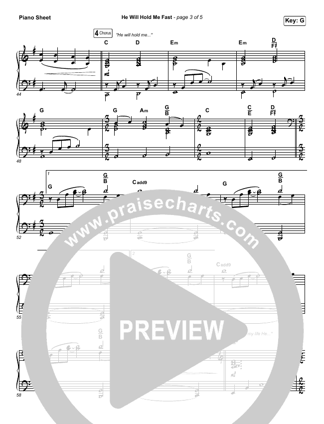 He Will Hold Me Fast Piano Sheet (Keith & Kristyn Getty)