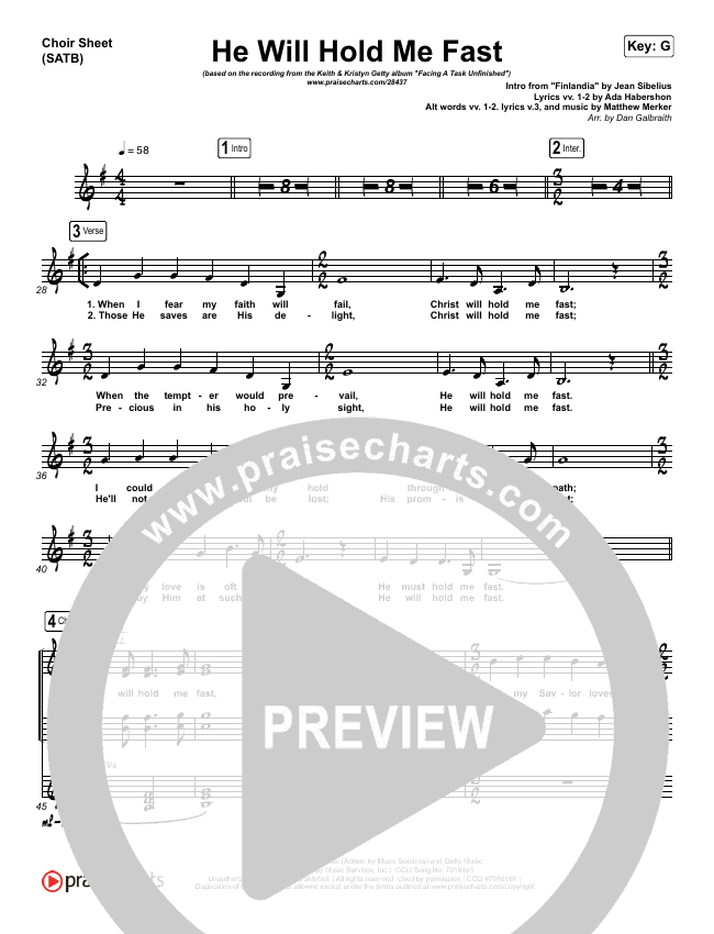 He Will Hold Me Fast Choir Sheet (SATB) (Keith & Kristyn Getty)