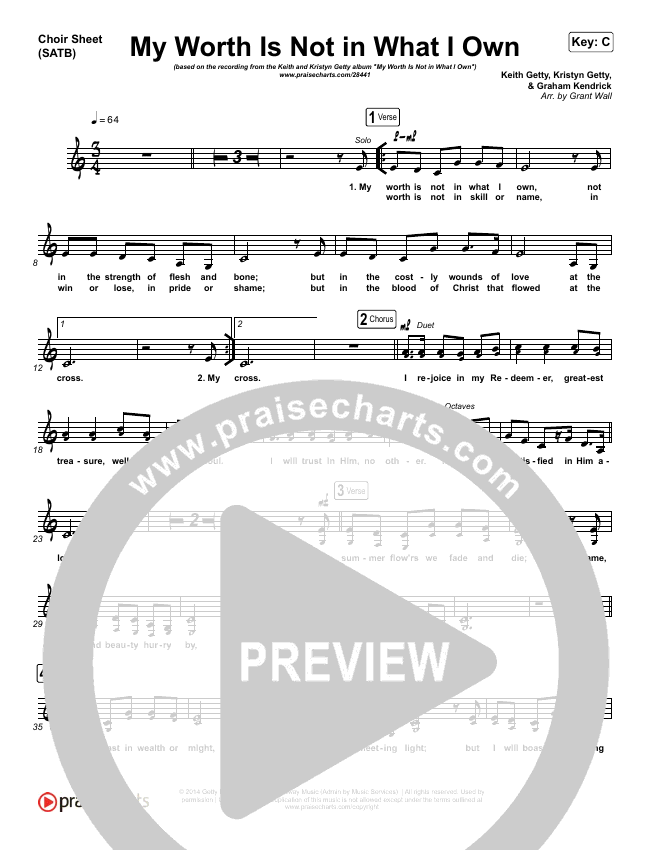 My Worth Is Not In What I Own Choir Sheet (SATB) (Keith & Kristyn Getty)