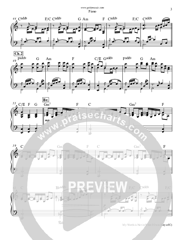 My Worth Is Not In What I Own Piano Sheet (Keith & Kristyn Getty)