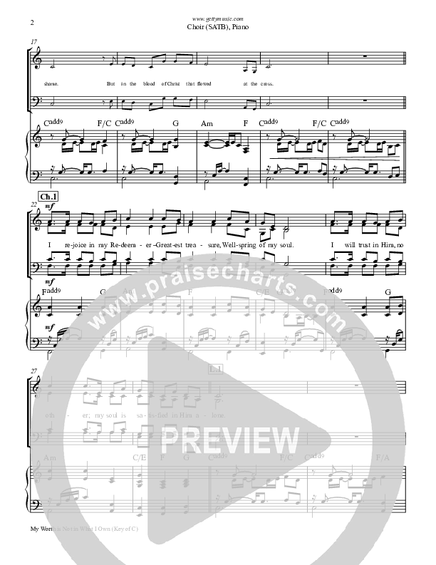 My Worth Is Not In What I Own Piano/Vocal (SATB) (Keith & Kristyn Getty)