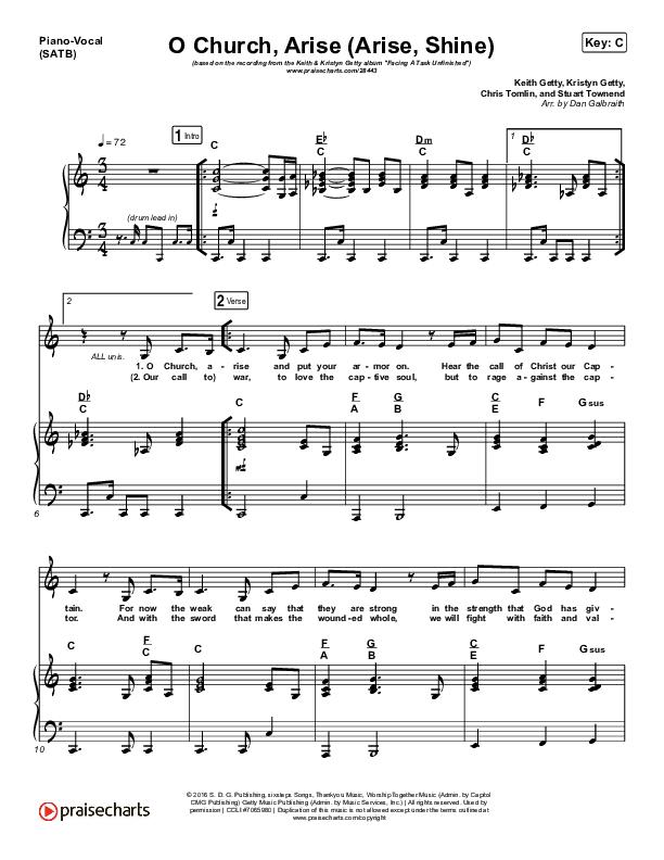 O Church Arise (Arise Shine) Piano/Vocal (SATB) (Keith & Kristyn Getty)