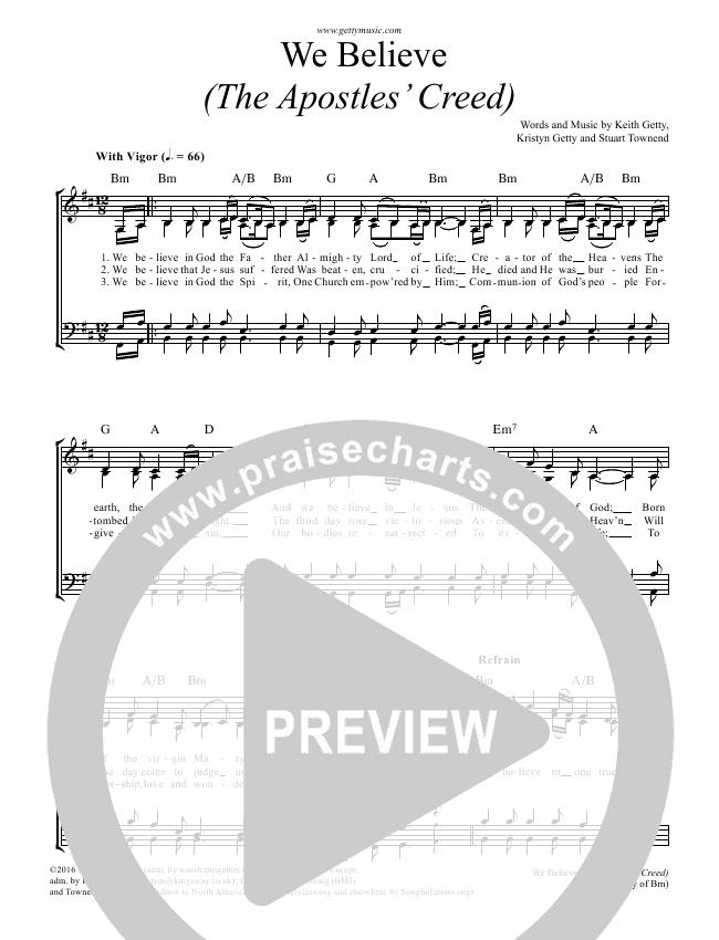 We Believe (Apostles Creed) Choir Sheet (SATB) - Keith Getty ...