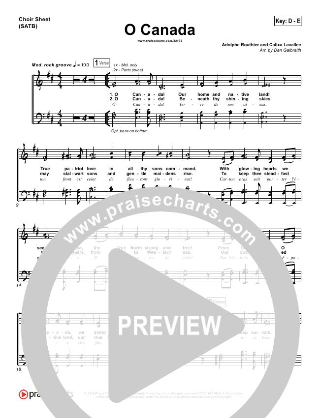 O Canada Choir Sheet (SATB) (PraiseCharts Band)
