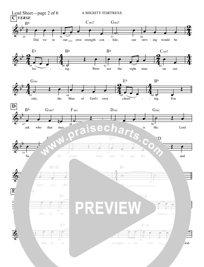 A Mighty Fortress (Our God Is Good) Lead Sheet (Rick Muchow)