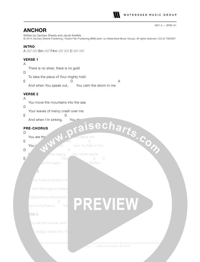 Anchor Chords - Wellhouse   PraiseCharts