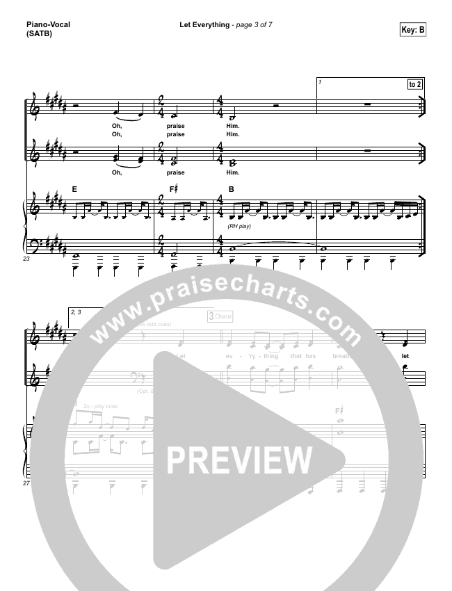 Let Everything Piano/Vocal (SATB) (Vertical Worship)
